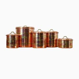 Schwedische Behälter aus Kupfer, 1970er, 5er Set