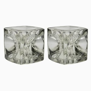 Vintage Glass Ice Cube Candleholders from Peill & Putzler, 1960s, Set of 2