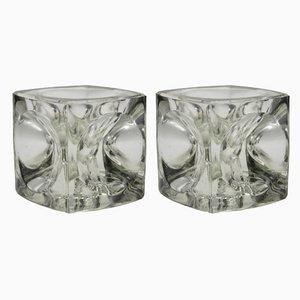 Würfelförmiger Vintage Kerzenhalter aus Glas von Peill & Putzler, 1960er, 2er Set