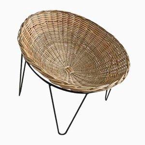 Stuhl mit Schale aus Korbgeflecht, 1950er