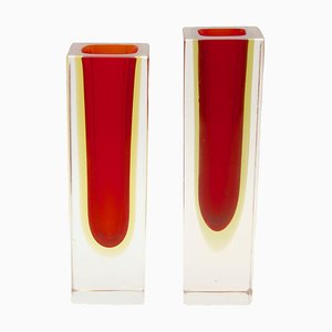 Vintage Red & Amber Murano Glass Block Vases by Flavio Poli, 1972, Set of 2