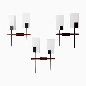 Modernist Rosewood Wall Lights from Arlus, 1960s, Set of 3