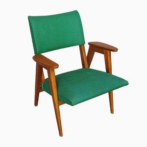 Polsterstuhl mit grünem Bezug aus Skai, 1960er