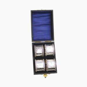 Serviettenringe aus Silber mit Aufbewahrungsbox von James Swann, 1906, 4er Set