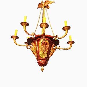 Lampadario antico in mogano e bronzo dorato