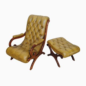 Chesterfield Lounge Chair and Ottoman, 1970s