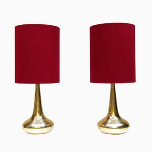 Golden Orient Table Lamps by Johannes Hammerborg for Fog & Mørup, 1970s, Set of 2
