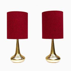 Lámparas de mesa Orient doradas de Johannes Hammerborg para Fog & Mørup, años 70. Juego de 2