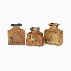 Vases Vintage en Grès par Curt M. Addin, Suède, 1960s, Set de 3