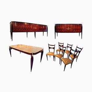 Rosewood Dining Room Set by Paolo Buffa, 1950s, Set of 9