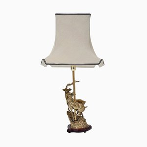 Lampe de Bureau Cerf Vintage en Laiton, Italie, 1970s