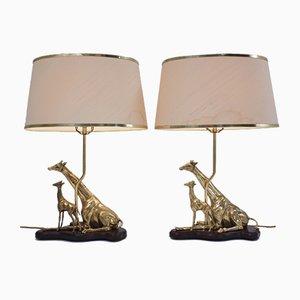 Lámparas de mesa italianas vintage de latón con jirafas, años 70. Juego de 2