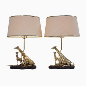 Vintage Italian Brass Giraffe Table Lamps, 1970s, Set of 2
