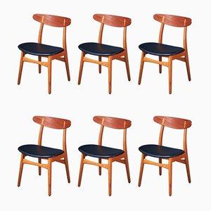 Mid-Century CH-30 Esszimmerstühle aus Eiche & Teak von Hans J. Wegner für Carl Hansen & Søn, 6er Set