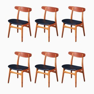 Mid-Century Oak and Teak CH-30 Dining Chairs by Hans J. Wegner for Carl Hansen & Søn, Set of 6