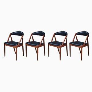Esszimmerstühle mit Gestell aus Teak & Sitz aus Leder von Kai Kristiansen für Schou Andersen, 1950er, 4er Set