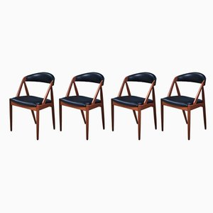 Teak and Leather Dining Chairs by Kai Kristiansen for Schou Andersen, 1950s, Set of 4