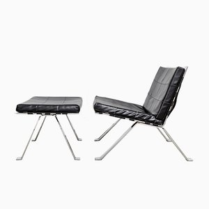 Model 1600 Lounge Chair and Ottoman Set by Hans Eichenberger for Girsberger, 1970s