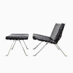 Set aus Modell 1600 Sessel & Fußhocker von Hans Eichenberger für Girsberger, 1970er
