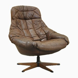 Vintage Leather Swivel Chair by H. W. Klein for Bramin, 1970s