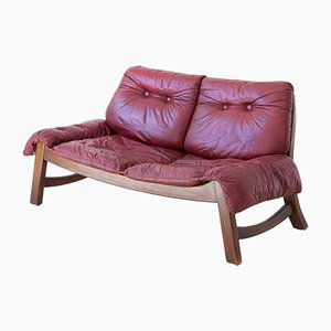 Italian Bordeaux Leather and Wood Sofa, 1960s