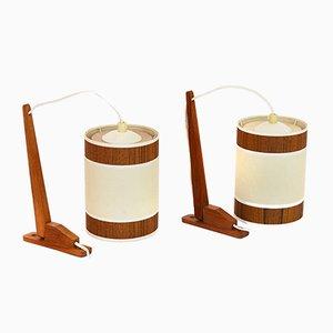 Lámparas de pared con accesorios de teca, años 60. Juego de 2