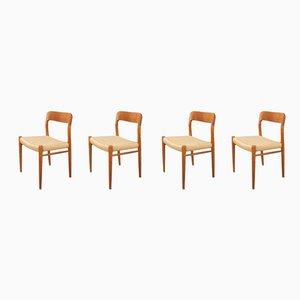 Dänische Nr.75 Esszimmerstühle mit Gestell aus Teak & Sitz aus Papierkordelgeflecht von Niels O. Møller für J. L. Møllers, 1950er, 4er Set