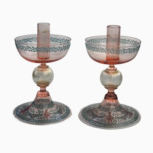 Vintage Murano Glass Candleholders by Salviati, 1920s, Set of 2
