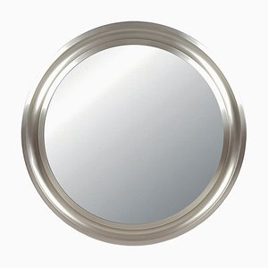 Narcisso Spiegel mit Rahmen aus vernickeltem Messing & schwarzem Metall von Sergio Mazza für Artemide, 1970er