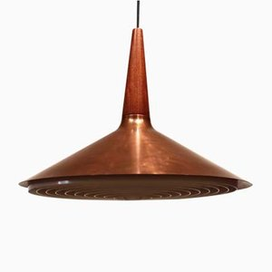 Danish Copper and Teak Ceiling Lamp, 1960s