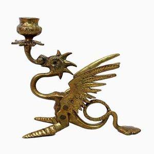 Candelabro de bronce con dragón, años 40