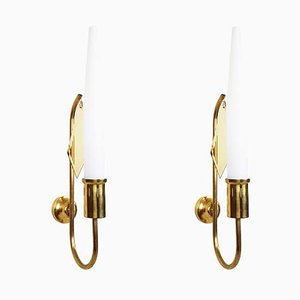 White Opaline Glass and Brass Sconces, 1950s, Set of 2