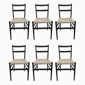 Ash and Rope 646 Light Dining Chairs by Gio Ponti for Cassina, 1956, Set of 6