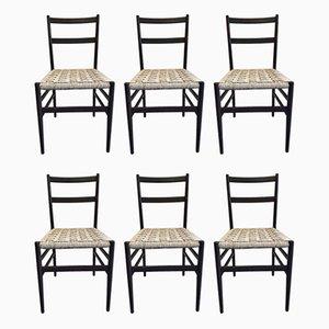 Leichte 646 Esszimmerstühle mit Gestell aus Eschenholz & Sitz aus Seilgeflecht von Gio Ponti für Cassina, 1956, 6er Set