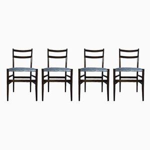 Leichte 646 Esszimmerstühle mit blauem Samtsitz von Gio Ponti für Cassina, 1950er, 4er Set