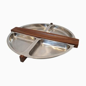 Arthur Salm Teak and Steel Revolving Tray