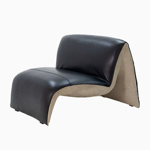 Black Leather Rivoli Lounge Chair from Steiner, 1999