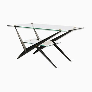 Double Glass and Lacquered Metal Coffee Table by Angelo Ostuni, 1950s