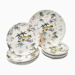South Pacific Plate Set from Barker Brothers, 1950s
