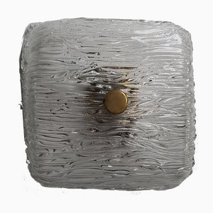 Modernist Textured Ice Glass and Brass Sconce by J. T. Kalmar, 1960s