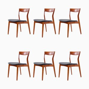 Black Leather Dining Chairs by Arne Vodder for France & Søn / France & Daverkosen, 1960s, Set of 6