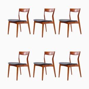 Esszimmerstühle mit schwarzem Ledersitz von Arne Vodder für France & Søn / France & Daverkosen, 1960er, 6er Set