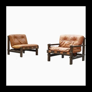 Danish Leather Lounge Chairs by Carl Straub, 1960s, Set of 2