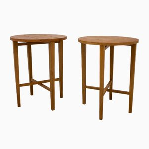Mid-century Foldable Teak Veneer Bedside Tables, Set of 2