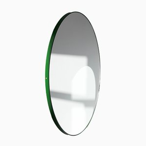 Large Round Silver Orbis Mirror with Green Frame by Alguacil & Perkoff