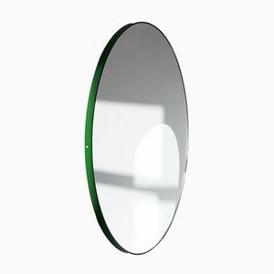 Espejo Orbis extra grande redondo de plata con marco verde de Alguacil & Perkoff