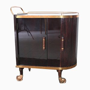 Art Deco Mahogany and Blonde Oak Trolley, 1940s