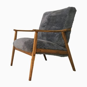 Vintage Grey Sheepskin Armchair
