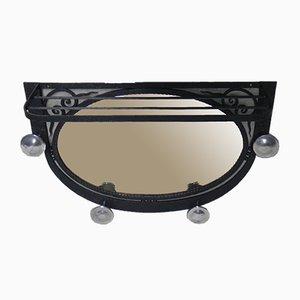 Art Déco Garderobe aus Stahl mit Spiegel, 1930er