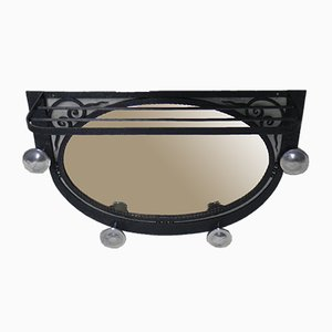 Art Deco Steel Coat Rack with Mirror, 1930s